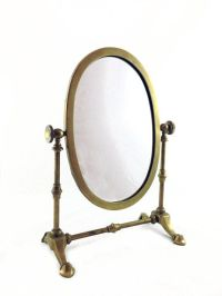 Vintage Brass Shaving Mirror - Table Top Vanity Mirror ...