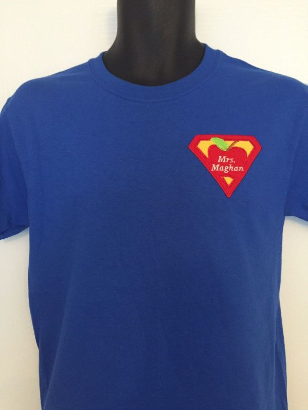 Great Teacher Embroidered Tshirt With Super Hero