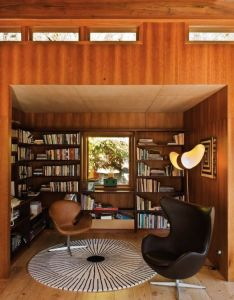 Located in waterfall bay new zealand is  timber framed and cedar clad retreat by pete bossley architects the library couple of design classics also home life style pinterest rh