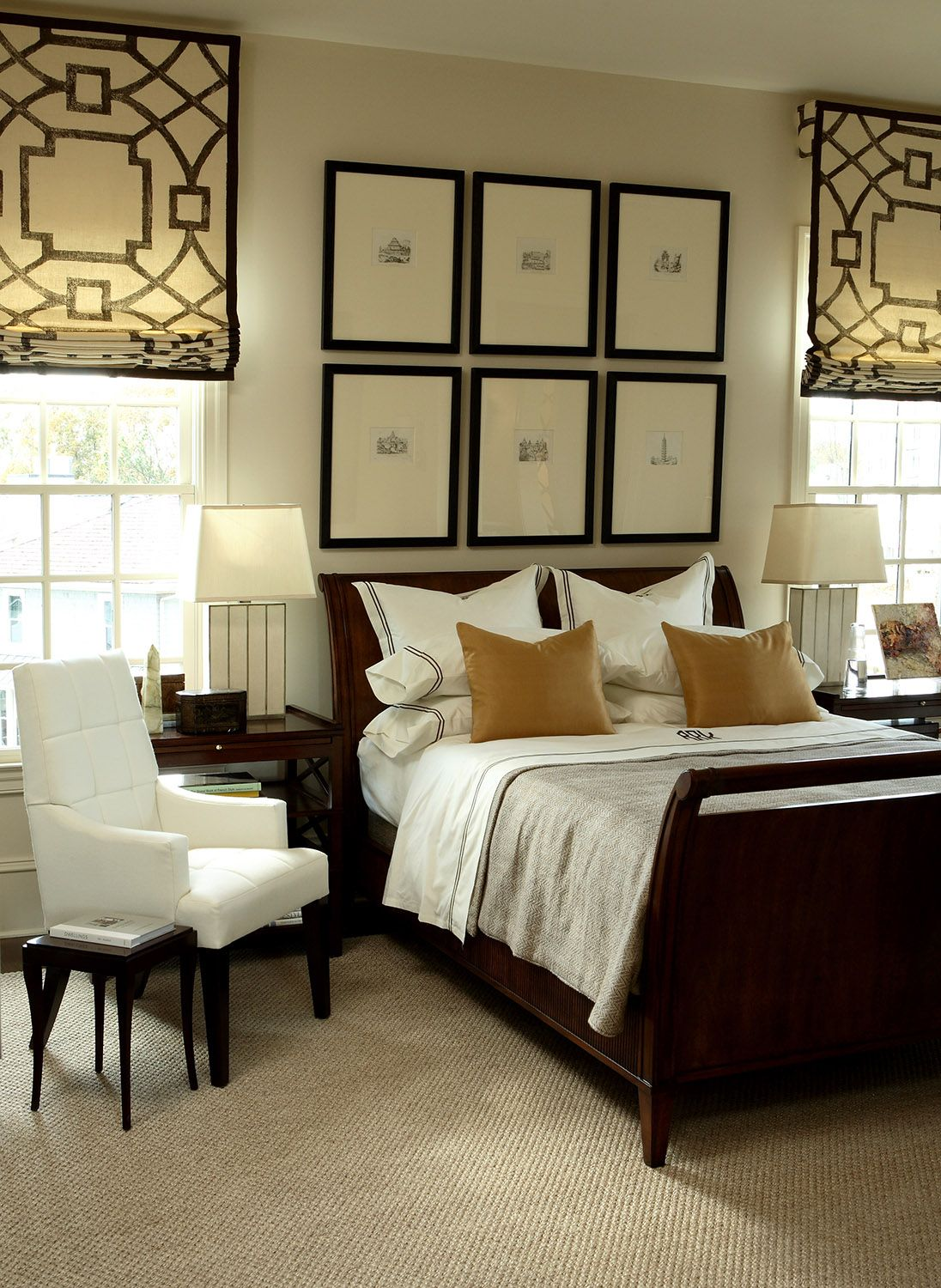 Like the idea of hanging roman shades several inches above window picture grouping bed also design indulgence aso decorator show house designed by bob rh pinterest