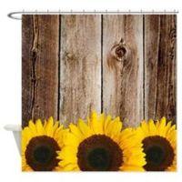 Rustic Barn Wood Sunflower Edge Shower Curtain | Rustic ...