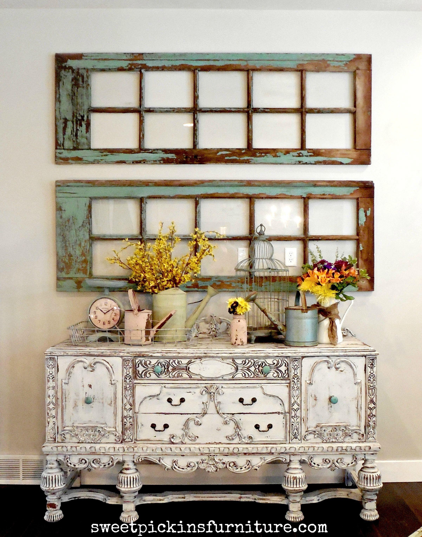 Sweet pickins milk paint painted antique buffet and frames windows decorwindow wall also rh pinterest