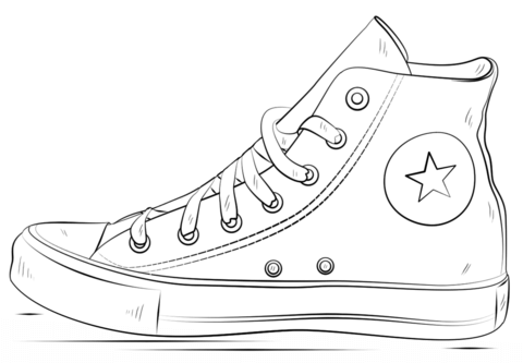 Converse Shoes coloring page from Clothes and Shoes