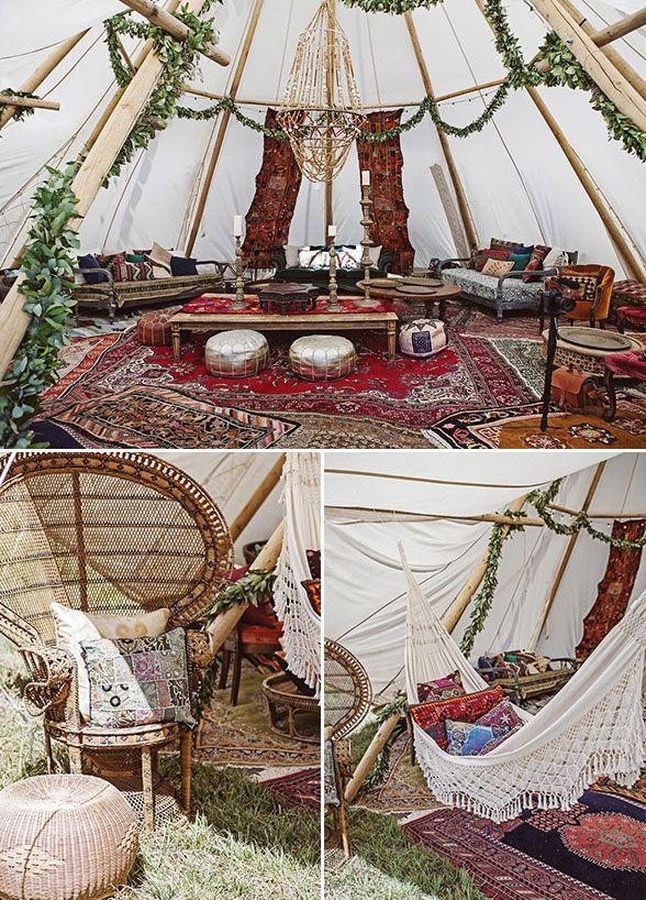 Inside the tent decor details Outdoor Boho wedding