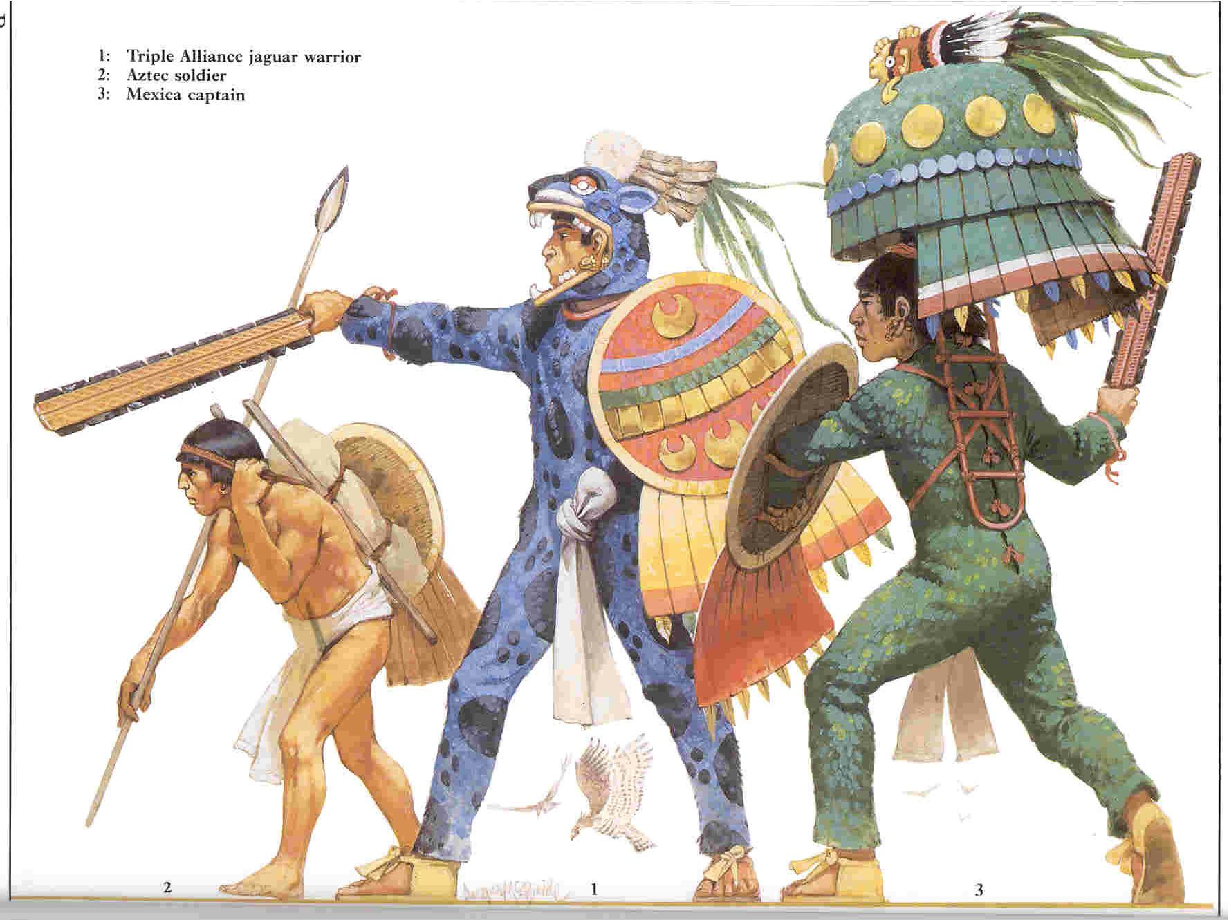 Aztec Warriors Including A Jaguar Warrior