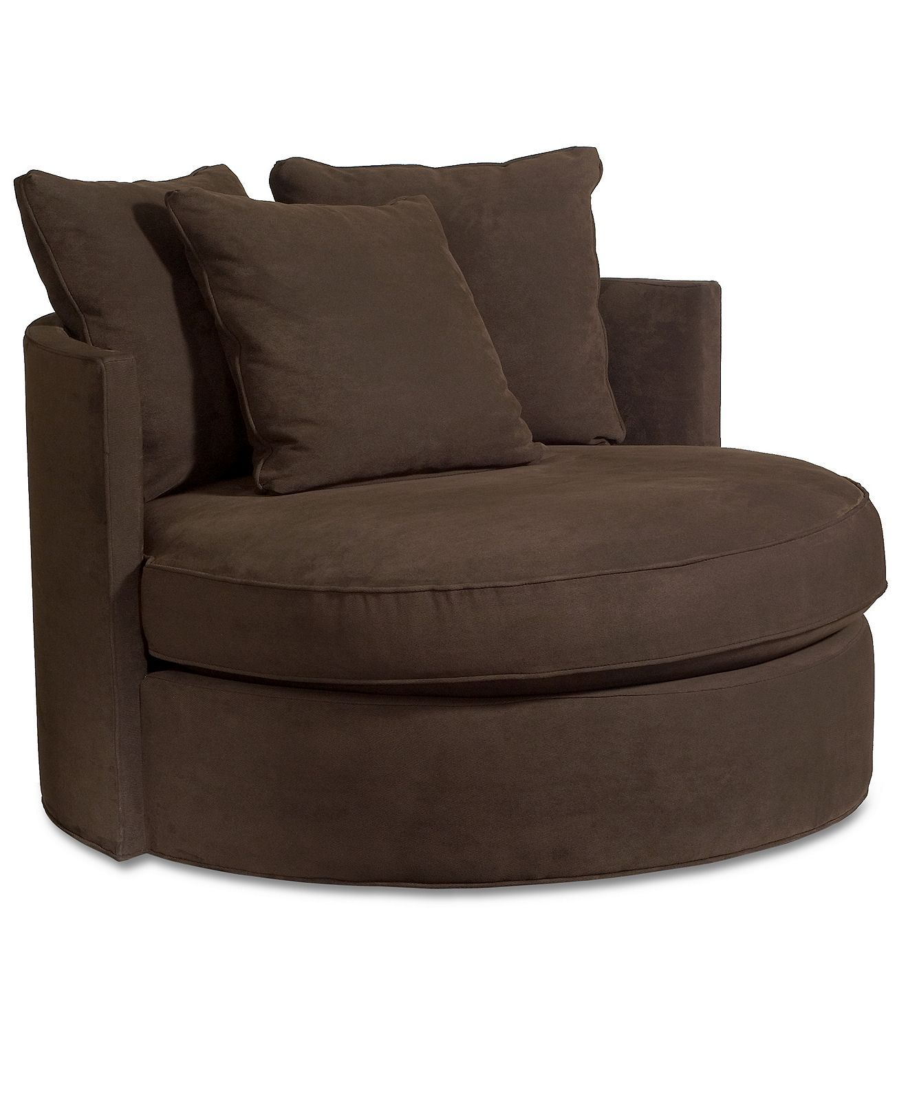 Circle Swivel Chair Doss Godiva Fabric Microfiber Round Swivel Living Room