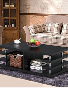 Yaheetech modern black wood coffee table multi tier design with storage shelf living room furniture also rh in pinterest