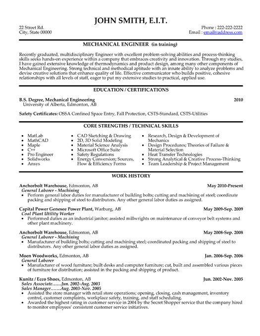 Design Mechanical Engineer Sample Resume Engineer Resume Example