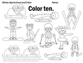 Kindergarten Winter Olympics 2018 Activities Counting and
