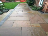 patio slabs blue brick edging - Google Search | patio and ...