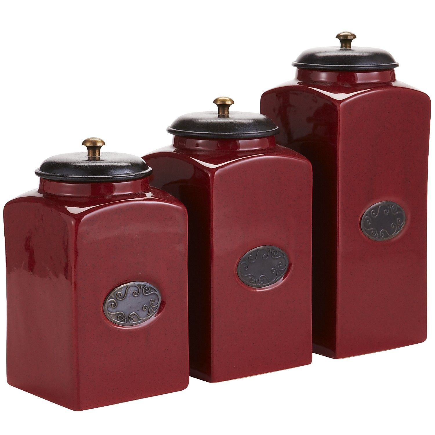 red canister set for kitchen bakers racks kitchens ceramic canisters ideas new apt pinterest