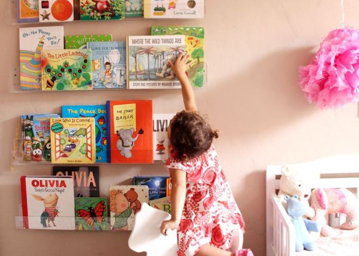 Acrylic walls shelves in child   room also children spaces