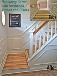 How to replace carpet with hardwood stairs... love this ...