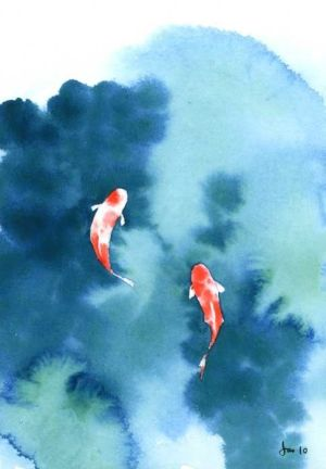 Koi Pond Watercolor 5x7 Print by KitchenFairies on Etsy, $1100 Two that can never be seperated