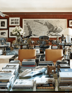 Coffee table loaded with books also love the big desk in back full ralph lauren   refined homes and chic madison avenue office rh pinterest