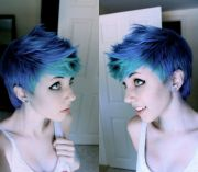 short cut with blue and green dye