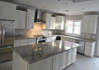 White ice granite countertop remodel with flat polish edge ...