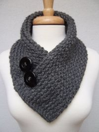 knitted cowl collar | Knitted Scarf , Gray , Cowl Neck ...