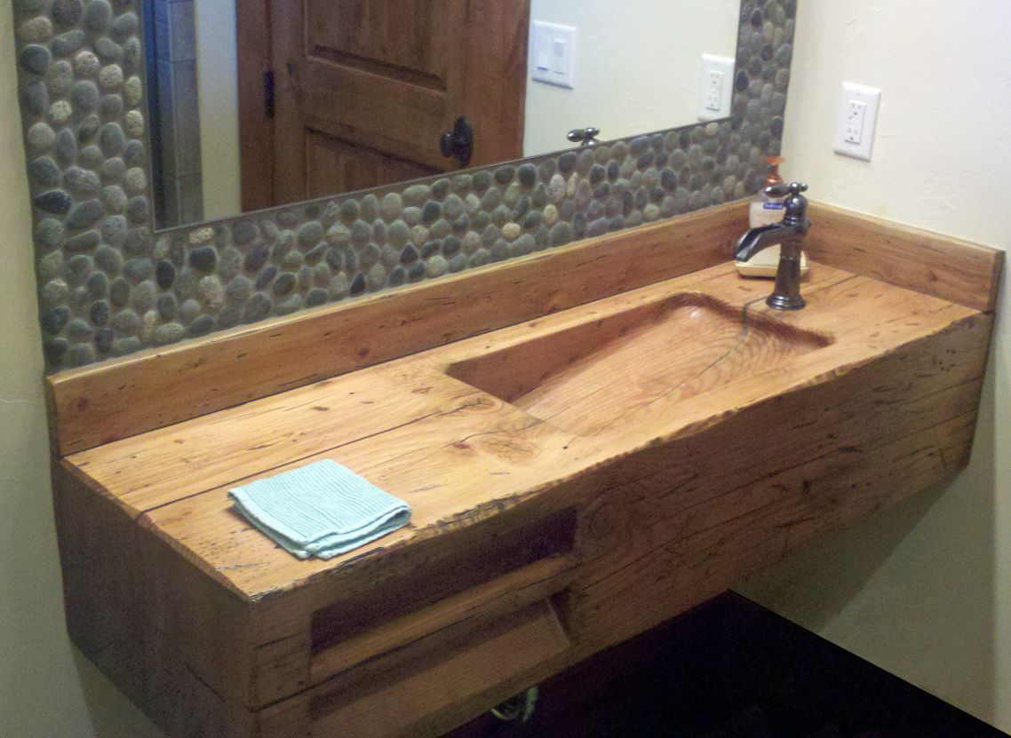 Double Bathroom Sink Natural Wooden Touch Of Corner