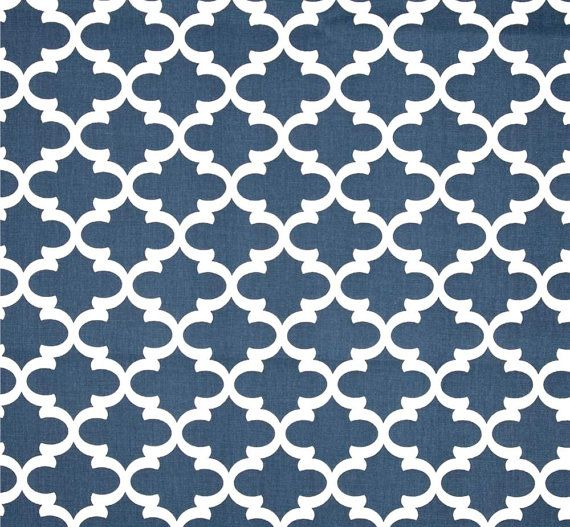 Navy Blue & White Modern Geometric Home Decor Fabric By The Yard