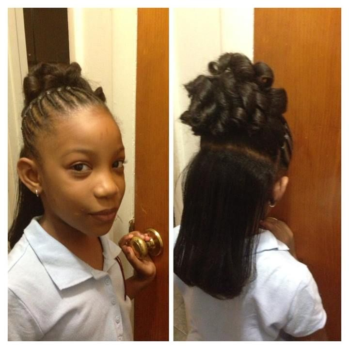 Flat Twist To Pony Tail And Candy Curls With Flat Ironed Hair