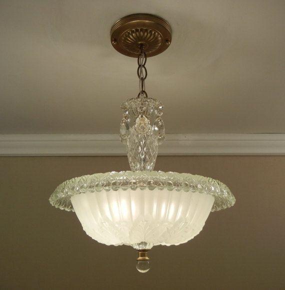 Vintage Chandelier 1930 S Antique Art Deco Rolled Rim Cream Pressed Glass Ceiling Light Fixture Rewired