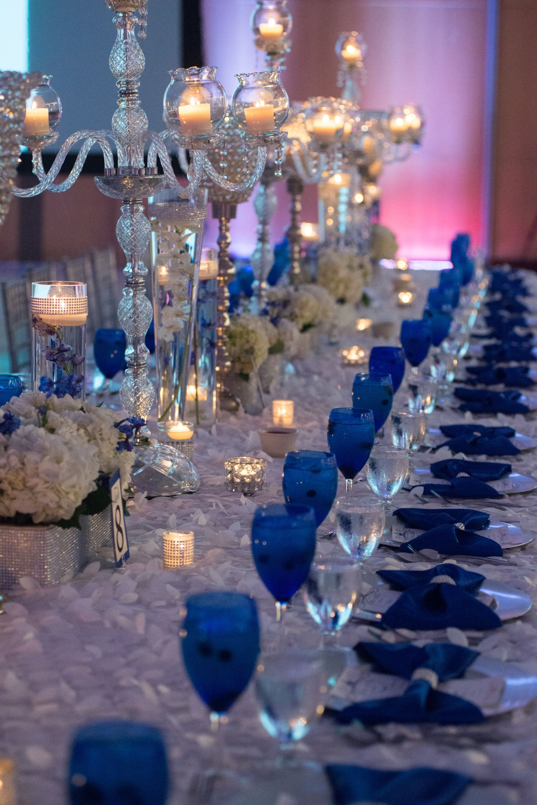 grey patio chair covers upholstered french our royal blue wedding - family styled seating reception table goblets ...