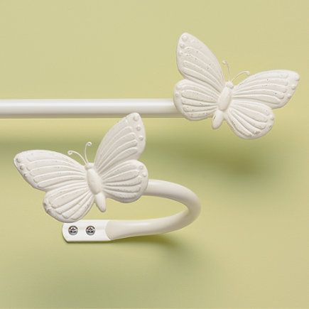 Kids Antique White Butterfly Curtain Rod & Holdbacks 28 48