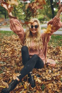 Barefoot Blonde In Fall Central Park Throwing Leaves