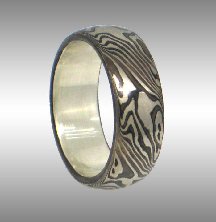Elegant Mokume Gane Ring With Contrasting Pattern 14k