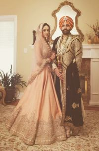 Royal Sikh Indian wedding Punjabi orange turban lehnga ...
