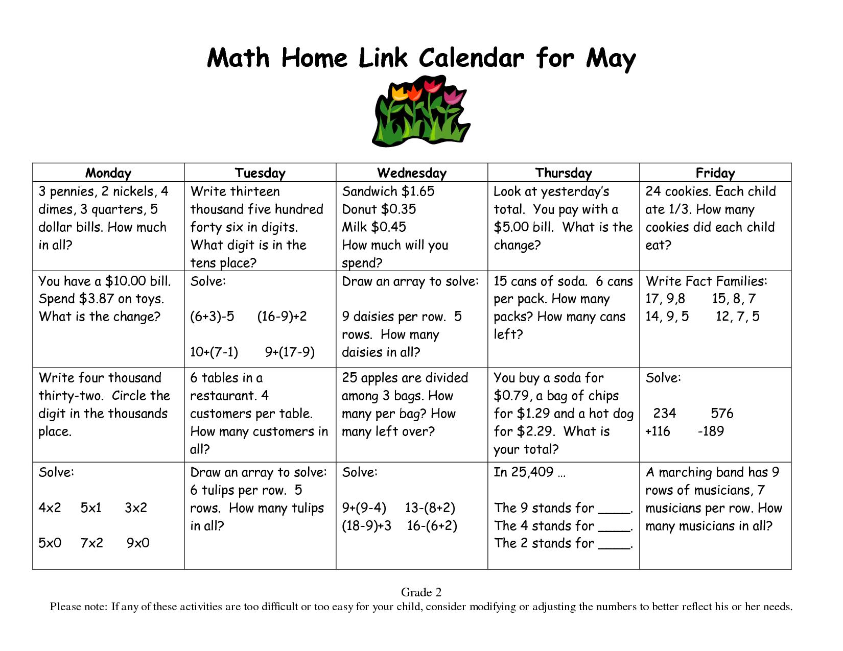 Calendar Math For Third Grade
