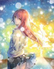 anime girl colorful long hair