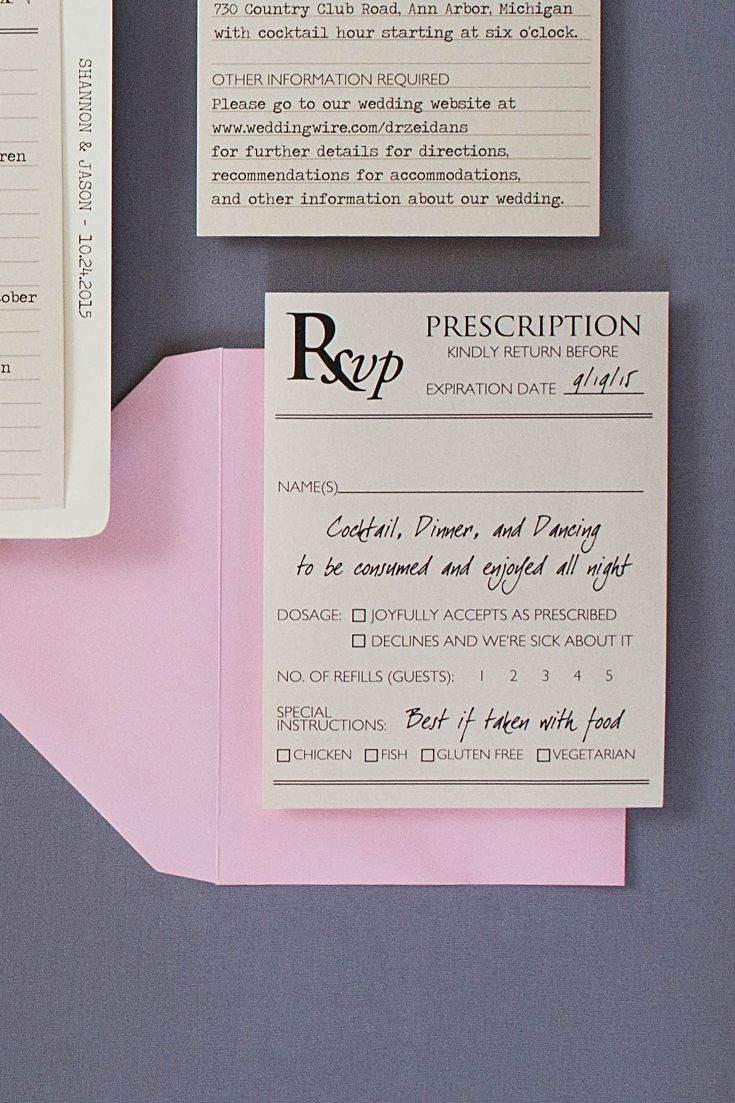 Medical Themed Wedding Invitations  Response cards
