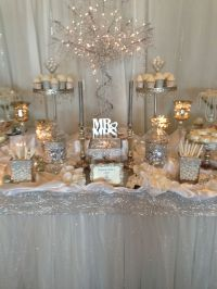 Silver and white rhinestone wedding candy buffet designed ...