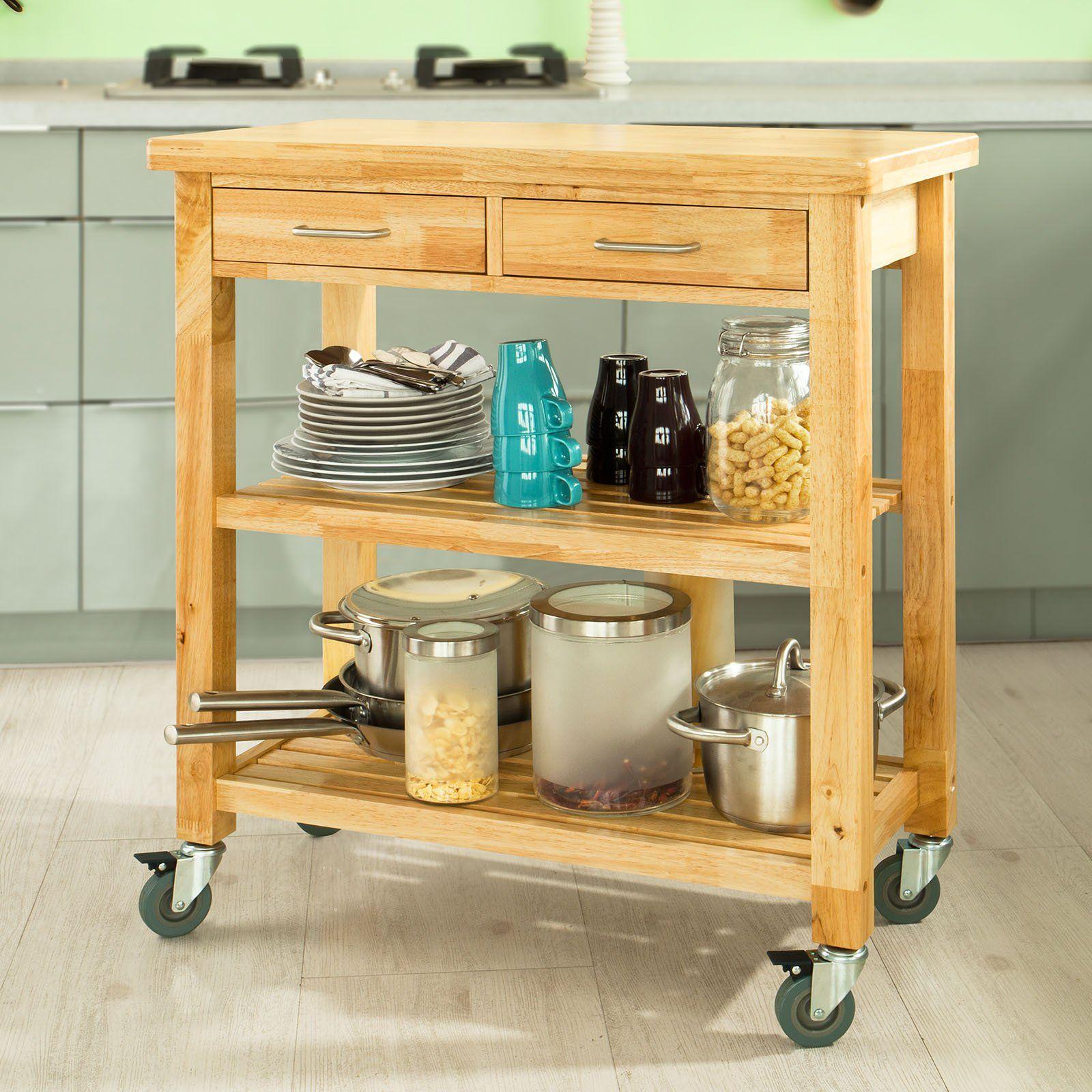 amazon kitchen cart white cabinet sobuy fkw24 n natual rubber wood