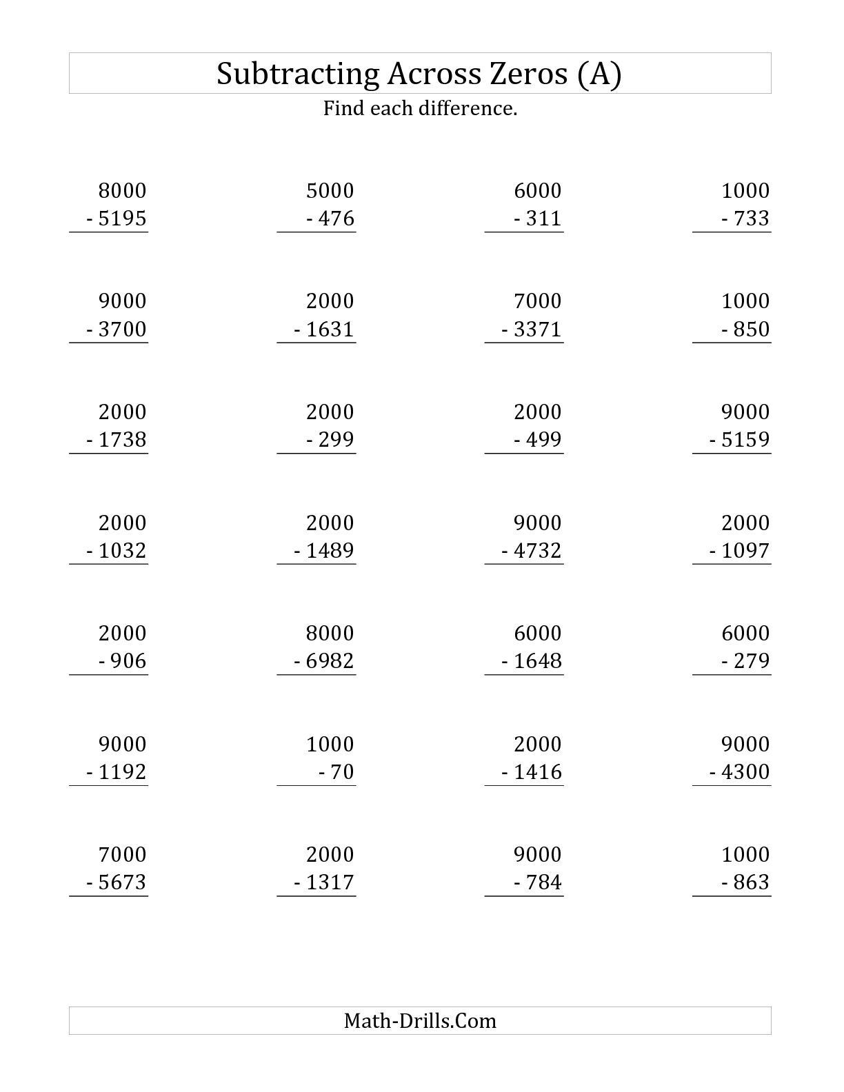The Subtracting Across Zeros From Multiples Of A