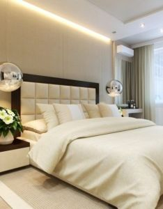Sophisticated bedroom with nice lighting and comfortable bed very good design ideas interior decorating get the right consider also image result for large contemporary headboards master rh pinterest