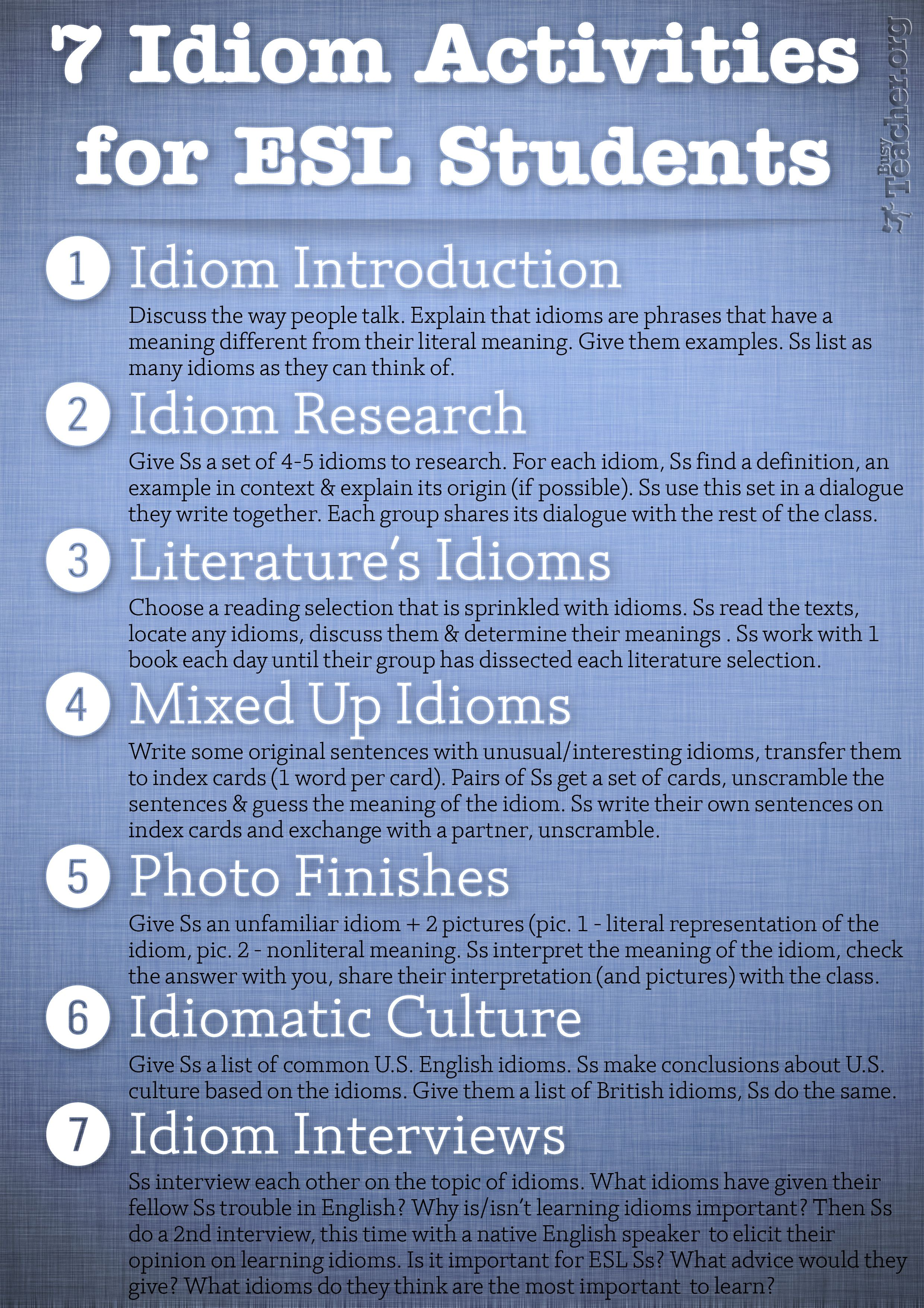 Poster 7 Idiom Activities For Esl Students
