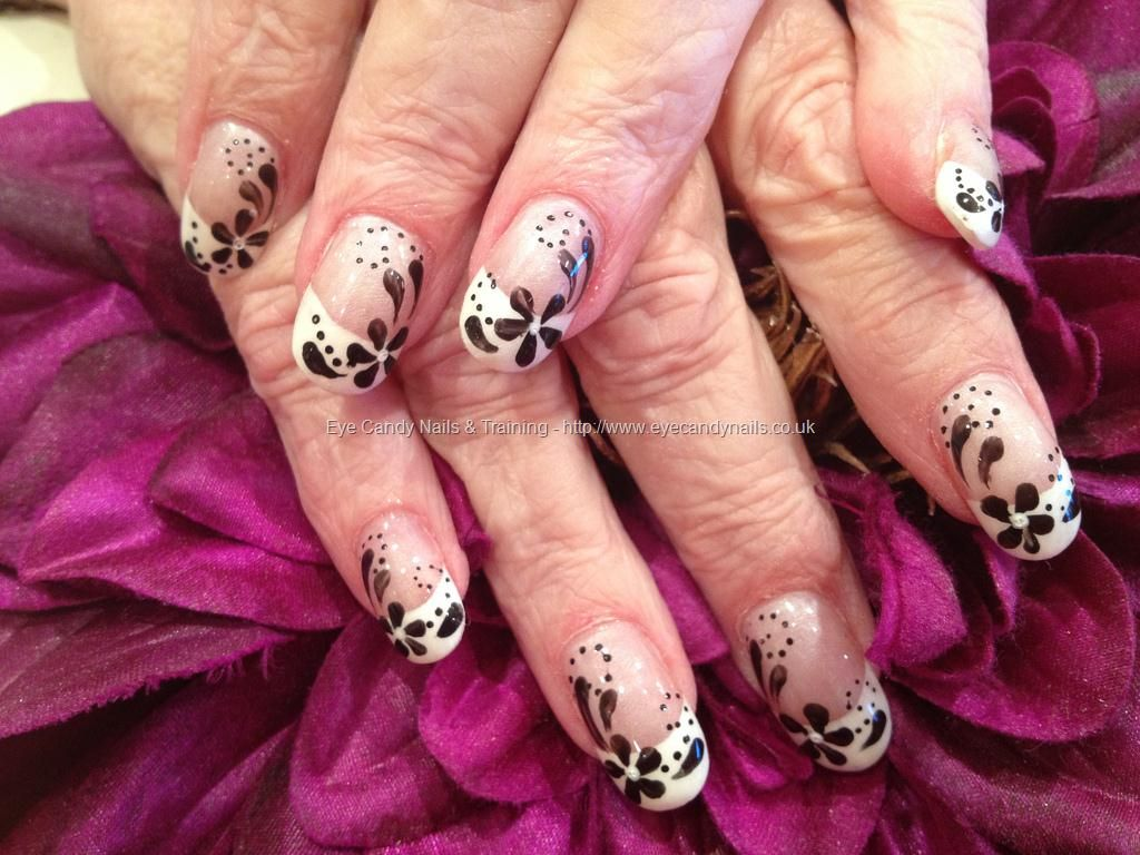 Acrylic Nails With White French Polish And Black Flower