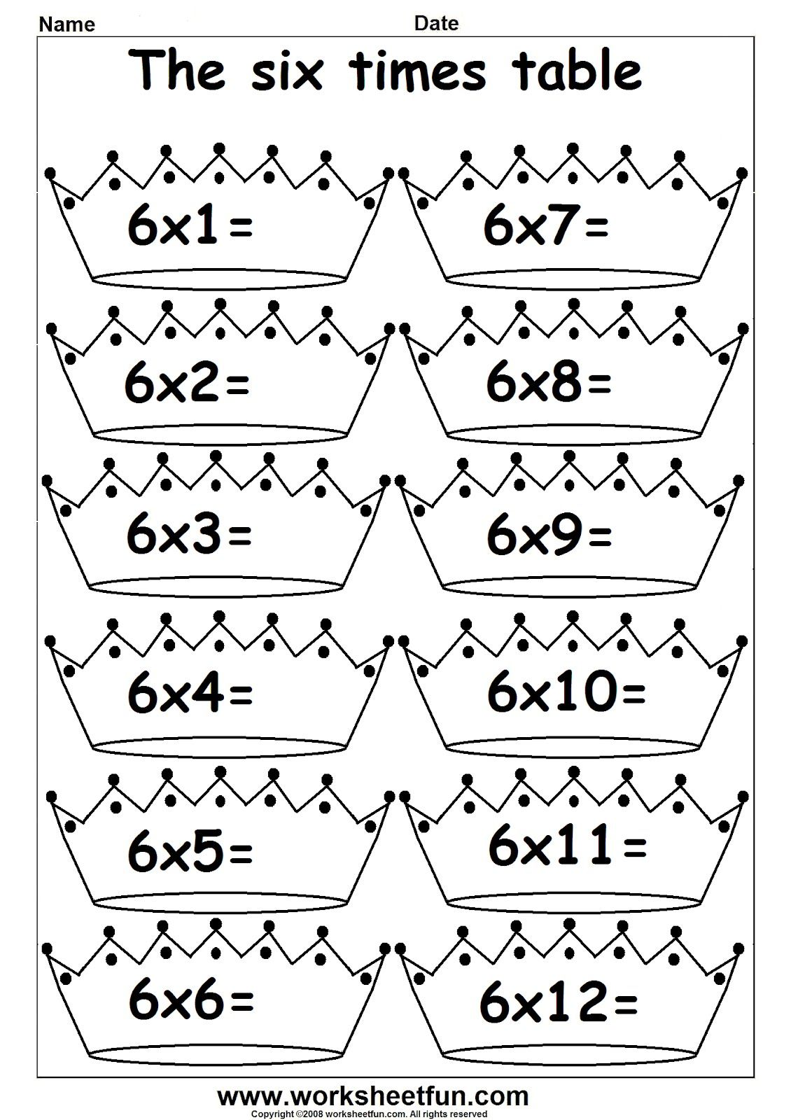 3rd Grade Math multiplication times tables 1's Printable