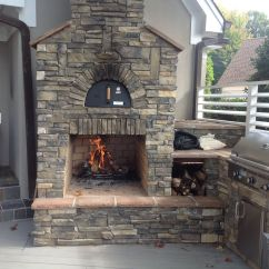 Outdoor Kitchen Pizza Oven Design Table Bench Custom Integrated Into An Fireplace And