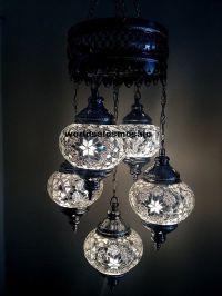 5 ball Turkish Moroccan Hanging Glass Mosaic Chandelier ...