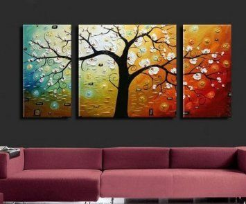 Santin Art 3 Piece Canvas Modern Hand Painted Oil Painting On Wall Deco Home Decoration Stretched And Framed