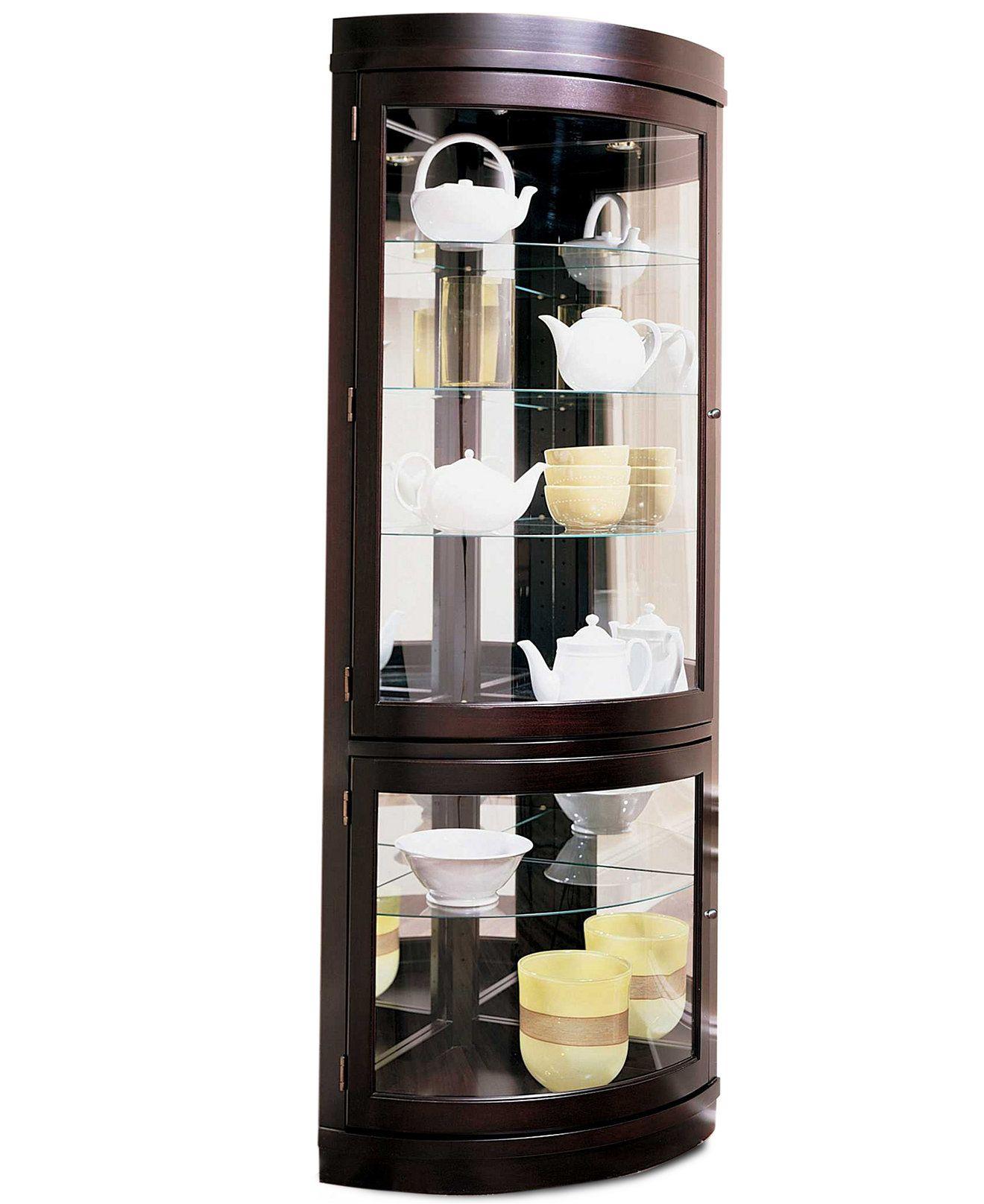 Contemporary Curved Corner Curio Cabinet
