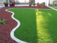 Finished front yard, synthetic grass, lava rock. | Yard ...
