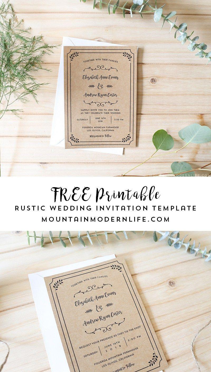FREE Printable Wedding Invitation Template  Free printable wedding invitations Free printable