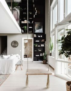 Indoor swing double height spaces built in bookshelves also pin by roxana czajkowska on inspirations pinterest swings rh