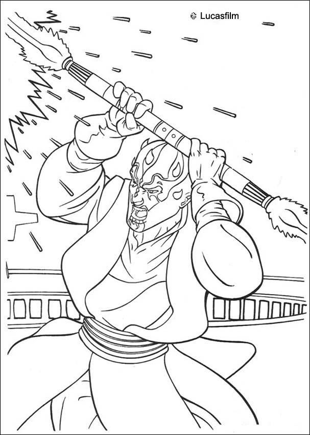 Darth Maul with a laser sword coloring page. More Star