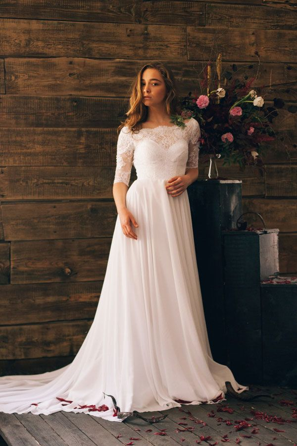 Simple Summer Wedding Dresses  Summer weddings Boat neck and Boating